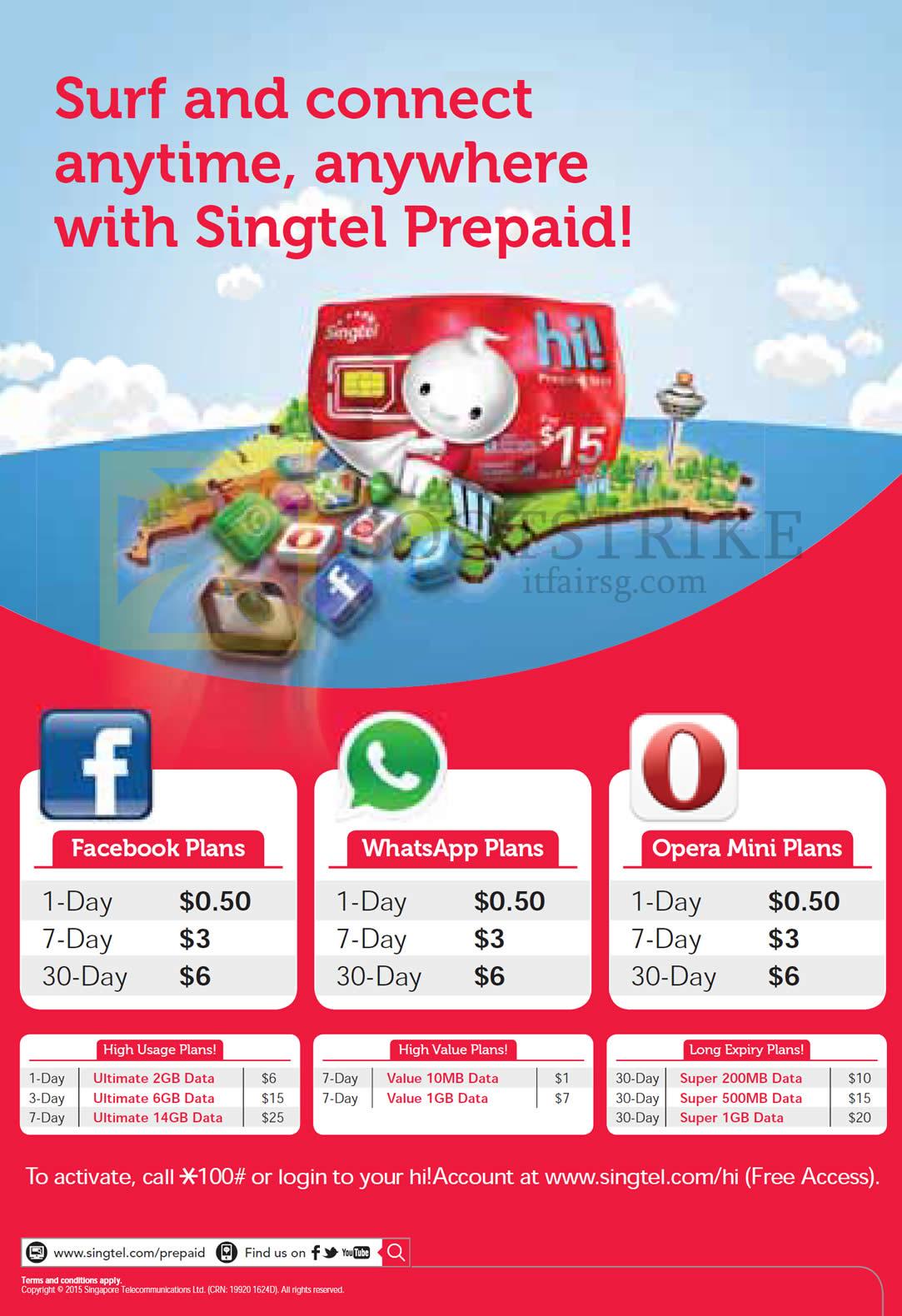 IT SHOW 2015 price list image brochure of Singtel Prepaid, Facebook Plans, WhatsApp Plans, Opera Mini Plans