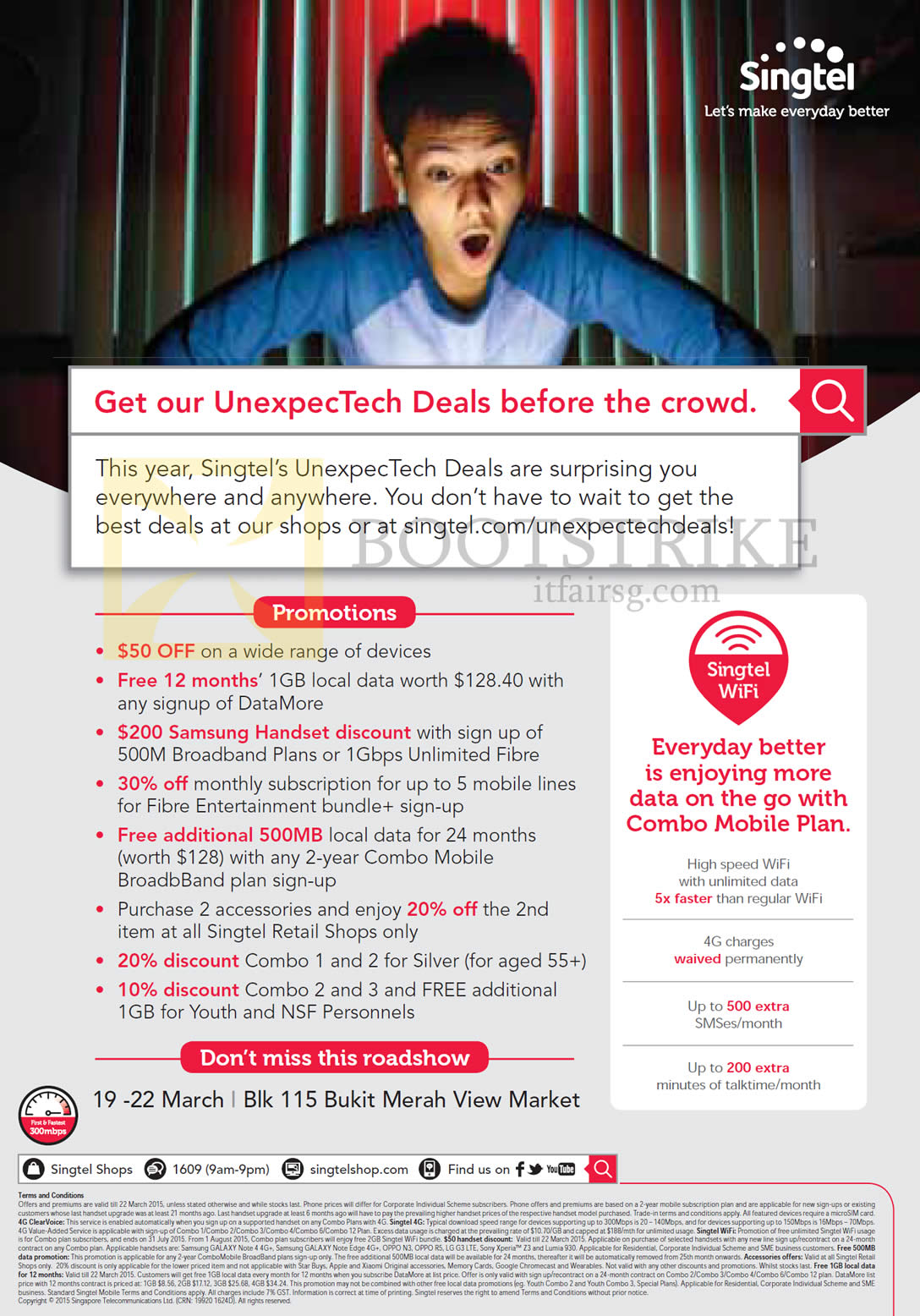 IT SHOW 2015 price list image brochure of Singtel UnexpecTech Deals Highlights, Free 12 Months 1GB Local Data, Samsung Handset Discount, Bukit Merah View Market Roadshow