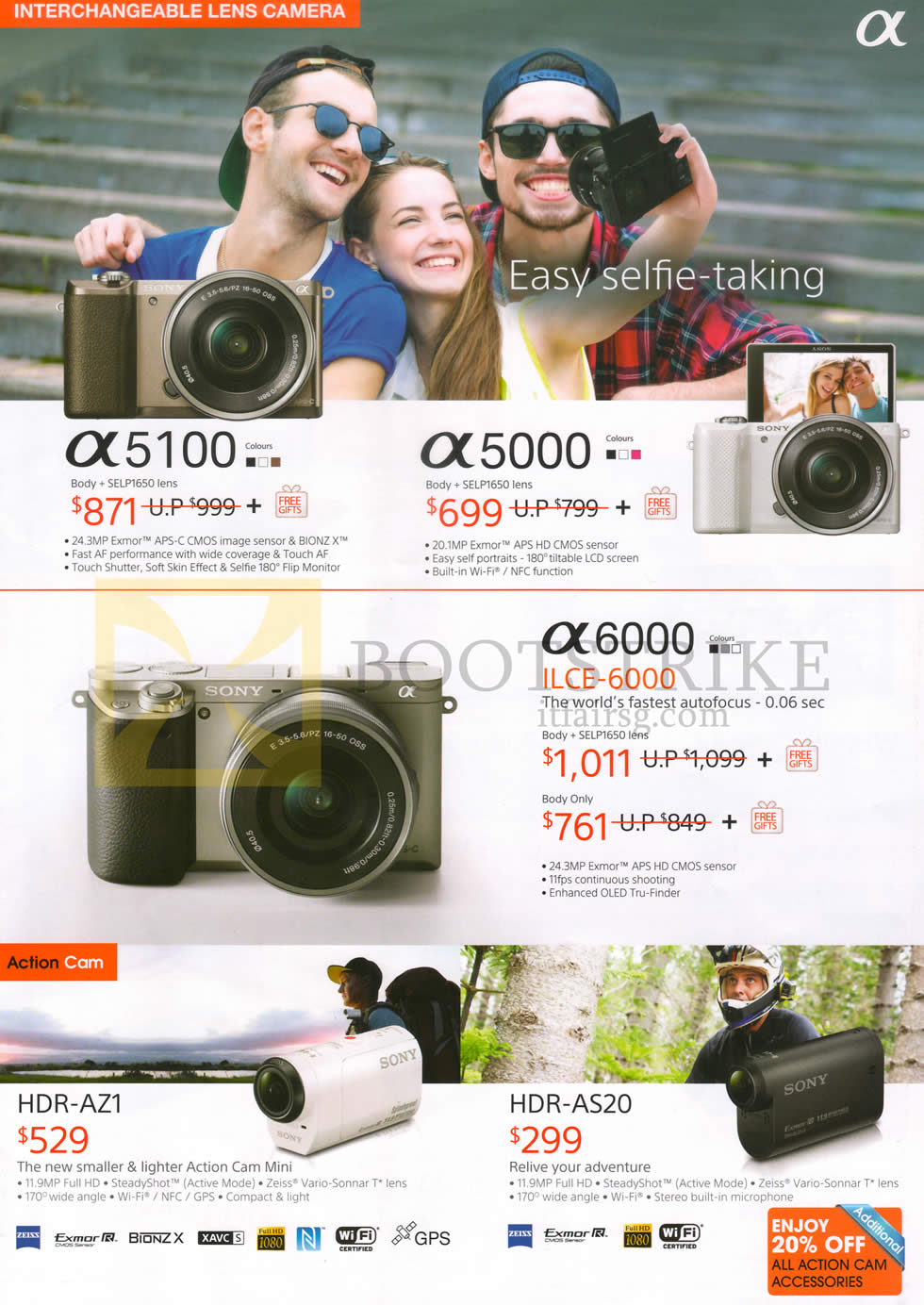 IT SHOW 2015 price list image brochure of Sony Digital Cameras Alpha A5100, A5000, A6000, HDR-AZ1 Camcorder Action Cam, AS20
