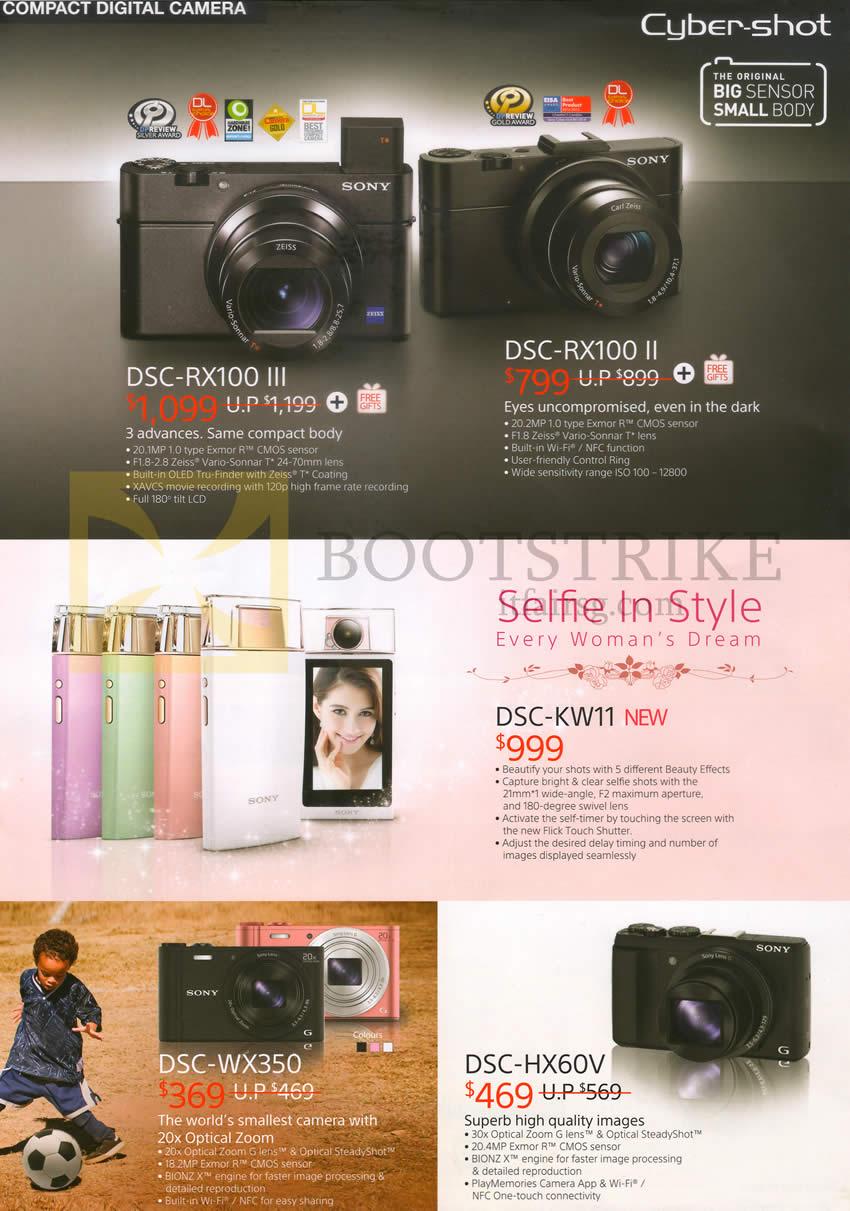 IT SHOW 2015 price list image brochure of Sony Digital Cameras DSC-RX100 III, II, KW11, WX-350, HX60V