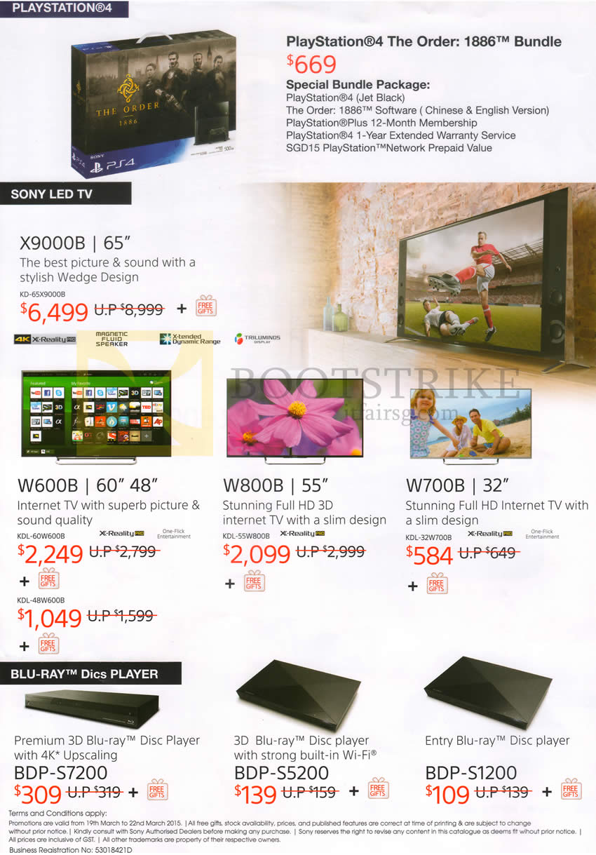IT SHOW 2015 price list image brochure of Sony PlayStation 4 PS4, X9000B, W600B, W800B, W700B TVs, BDP-S7200, S5200, S1200 Blu-Ray Player