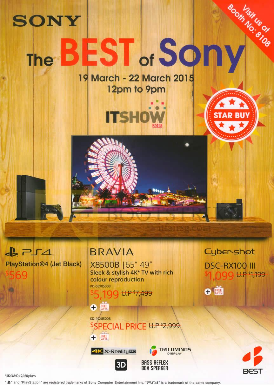 IT SHOW 2015 price list image brochure of Sony X8500B TV, Playstation 4 PS4, DSC-RX100 III Digital Camera