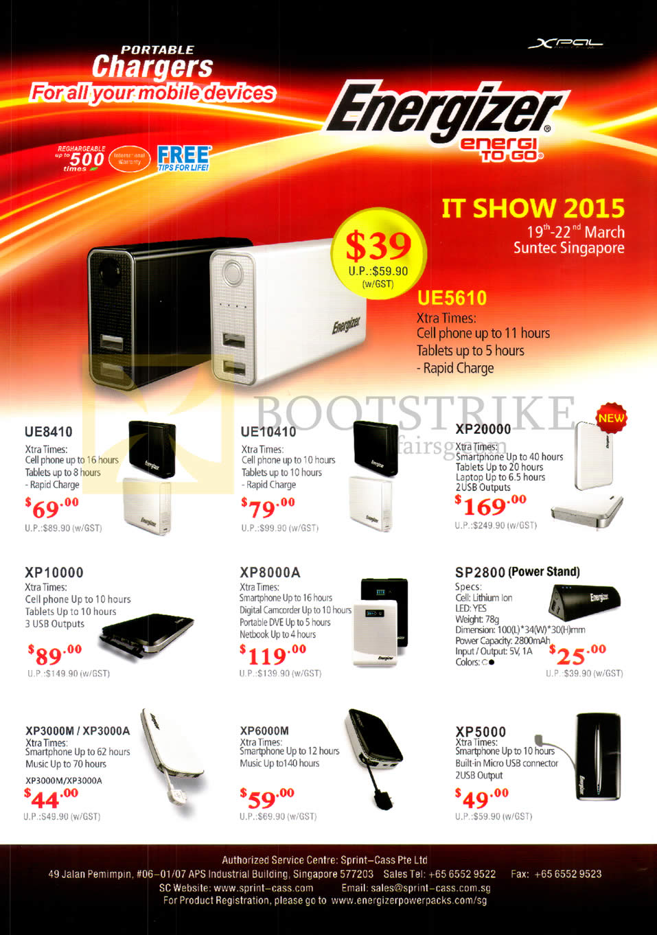 IT SHOW 2015 price list image brochure of Sprint-Cass Energizer Power Banks UE8410, 10410, XP20000, 10000, 8000A, 3000M, 3000A, 6000M, 5000, SP2800