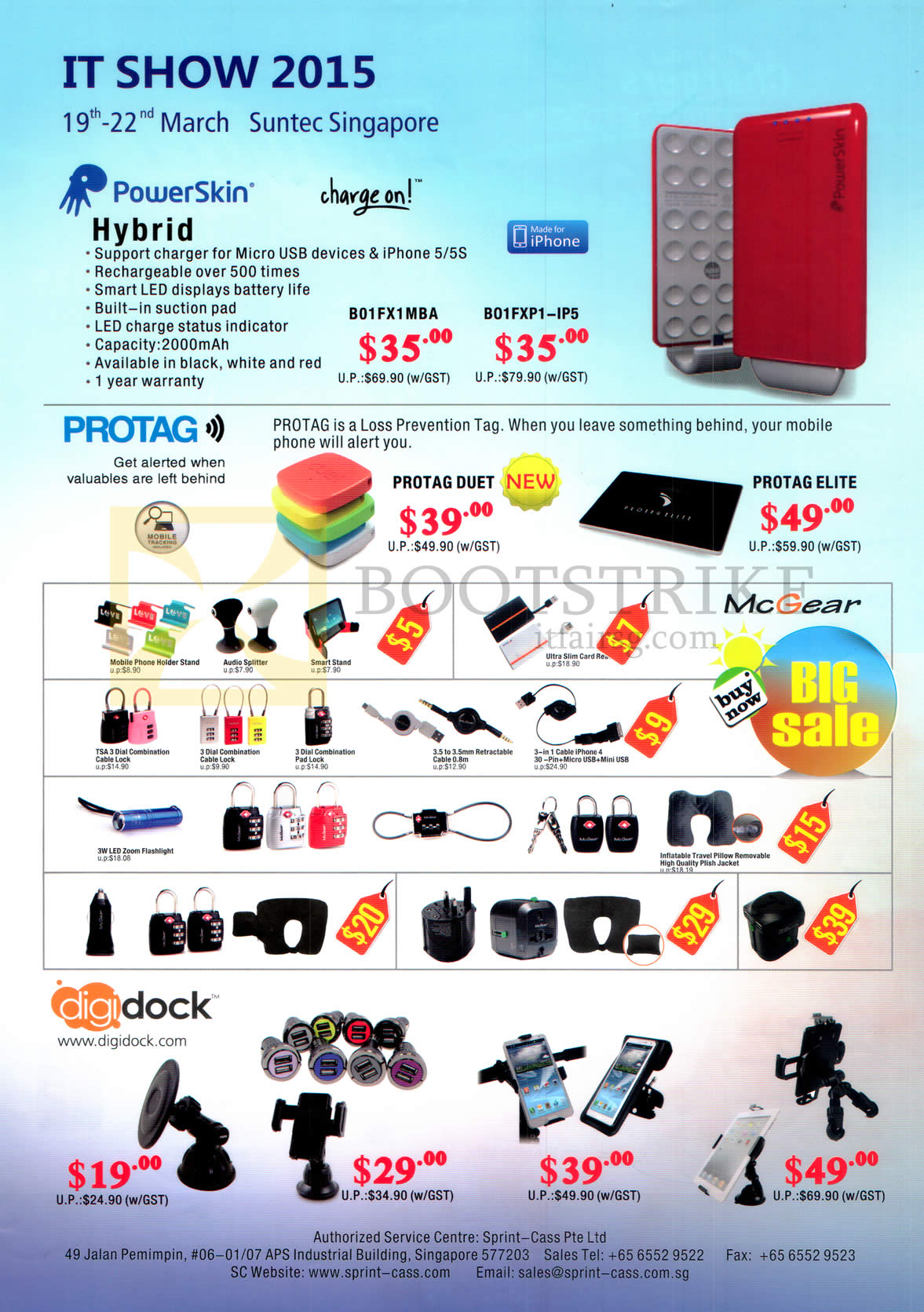 IT SHOW 2015 price list image brochure of Sprint-Cass PowerSkin Power Banks, Protag Accessories, Digidock Docking Stations