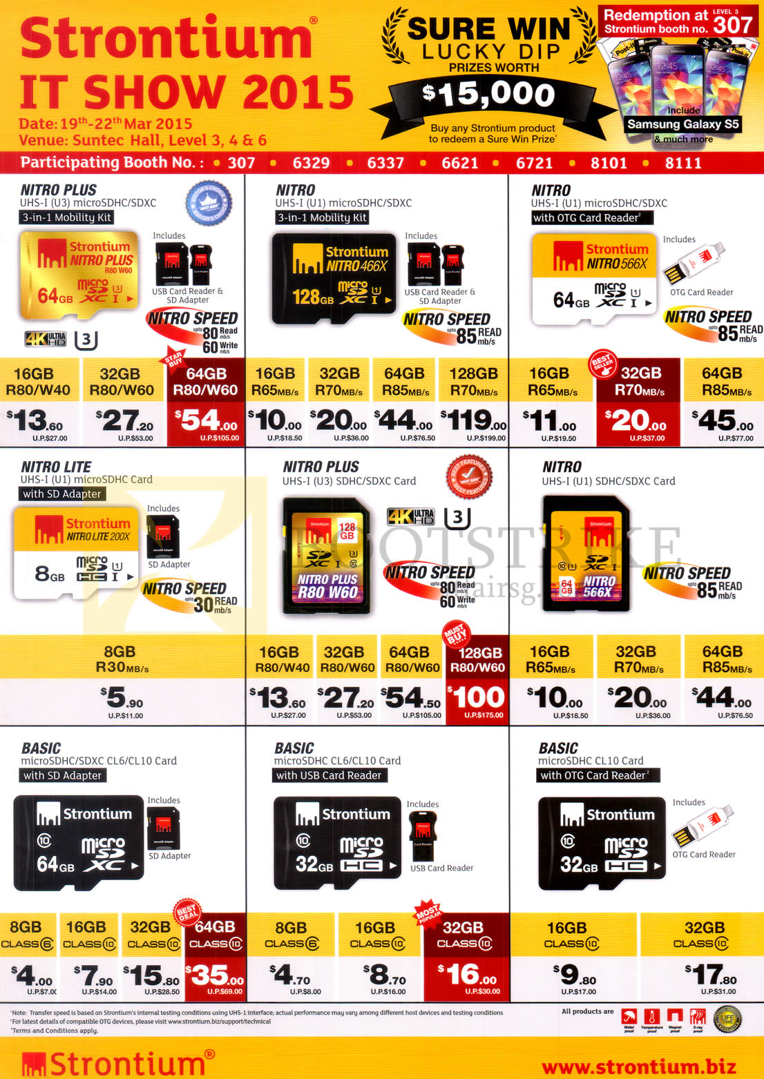 IT SHOW 2015 price list image brochure of Strontium Flash Memory Cards, Nitro Lite Plus, MicroSD, SDXC, Basic, Mobility Kid, Card Reader