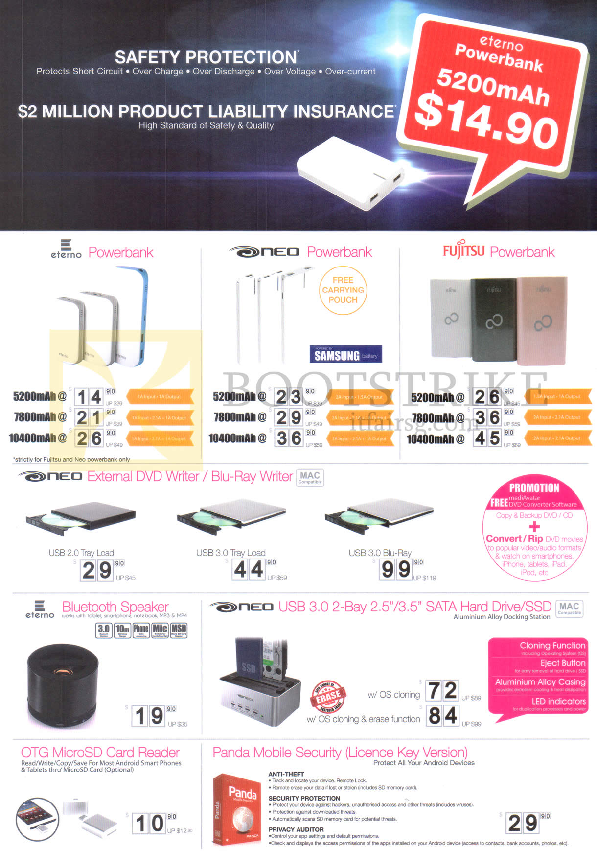 IT SHOW 2015 price list image brochure of Unknown Eterno Power Banks, DVD, Blu-Ray Writers, MicroSD Card Readers, SATA Hard Drives, Neo, Fujitsu, OTG, Panda Mobile Security
