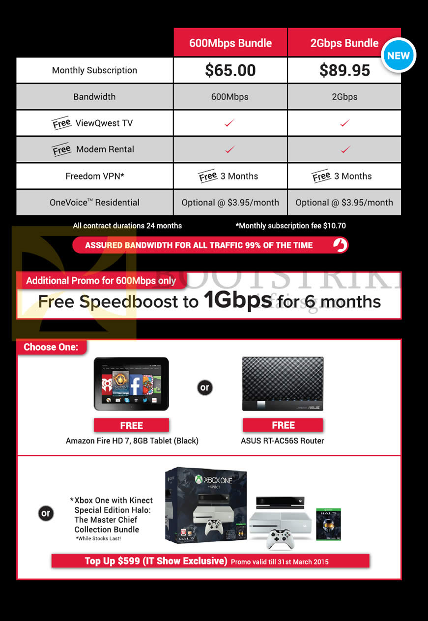 IT SHOW 2015 price list image brochure of ViewQwest Fibre Broadband 600Mbps, 2Gbps, Free Amazon Fire HD7, ASUS RT-AC56S Router, Xbox One