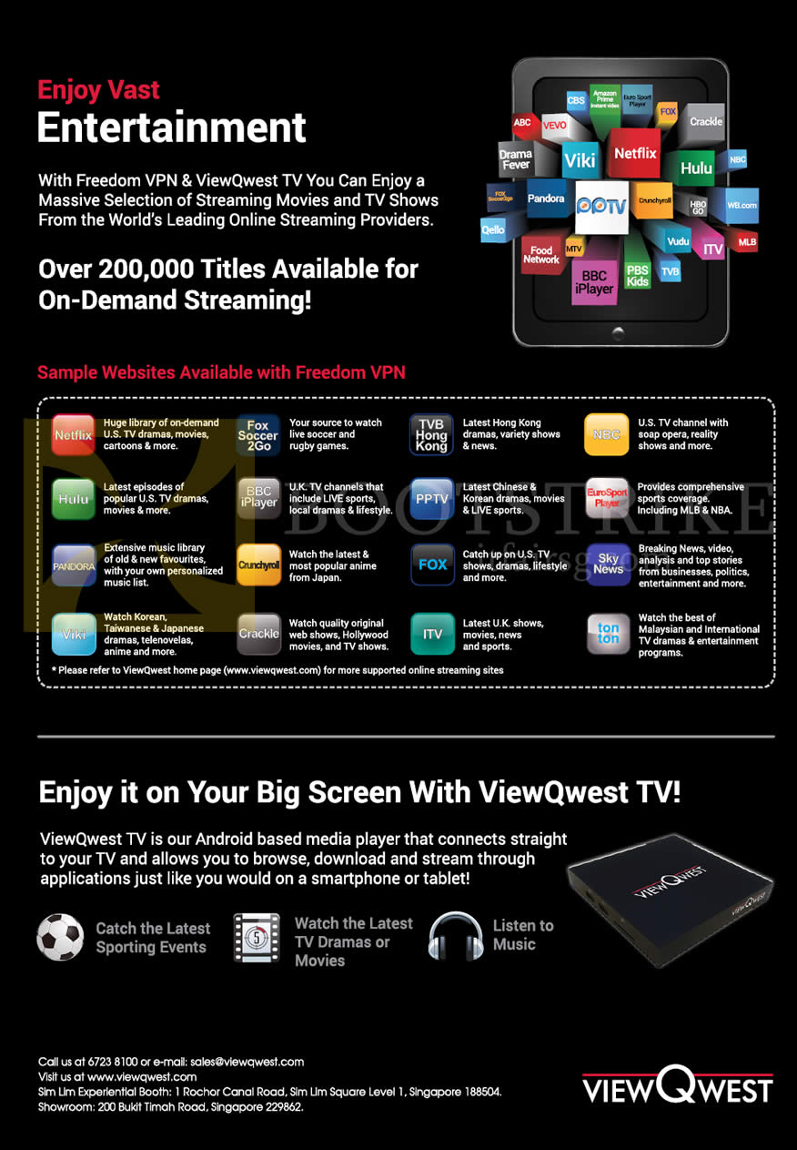 IT SHOW 2015 price list image brochure of ViewQwest TV Freedom VPN Websites