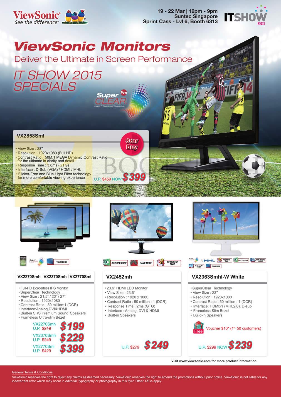 IT SHOW 2015 price list image brochure of ViewSonic Monitors LED, VX2858Sml, VX2270Smh, VX2370Smh, VX2770Sml, VX2452mh, VX2363Smhl-W