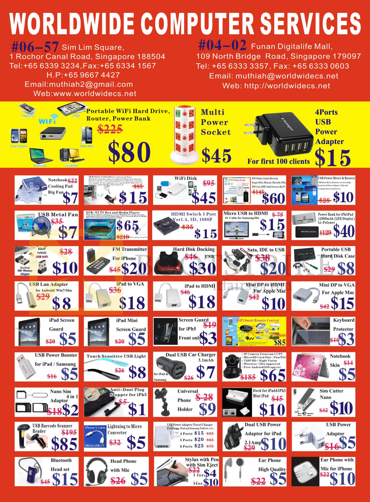 IT SHOW 2015 price list image brochure of Worldwide Computer Services Accessories Cooling Fan, Mini DP, Hard Disk Docking, USB Lan Adapter, IPad Screen Protector, Headphone, Bluetooth, Earphones