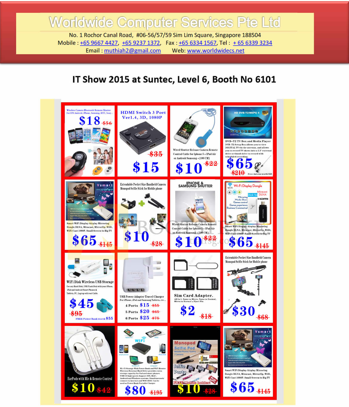IT SHOW 2015 price list image brochure of Worldwide Computer Services Accessories, Sim Card Adapter, Power Adapter Travel Charger, Wireless USB Storage, Handheld Camera, Wi-fi Display Dongle