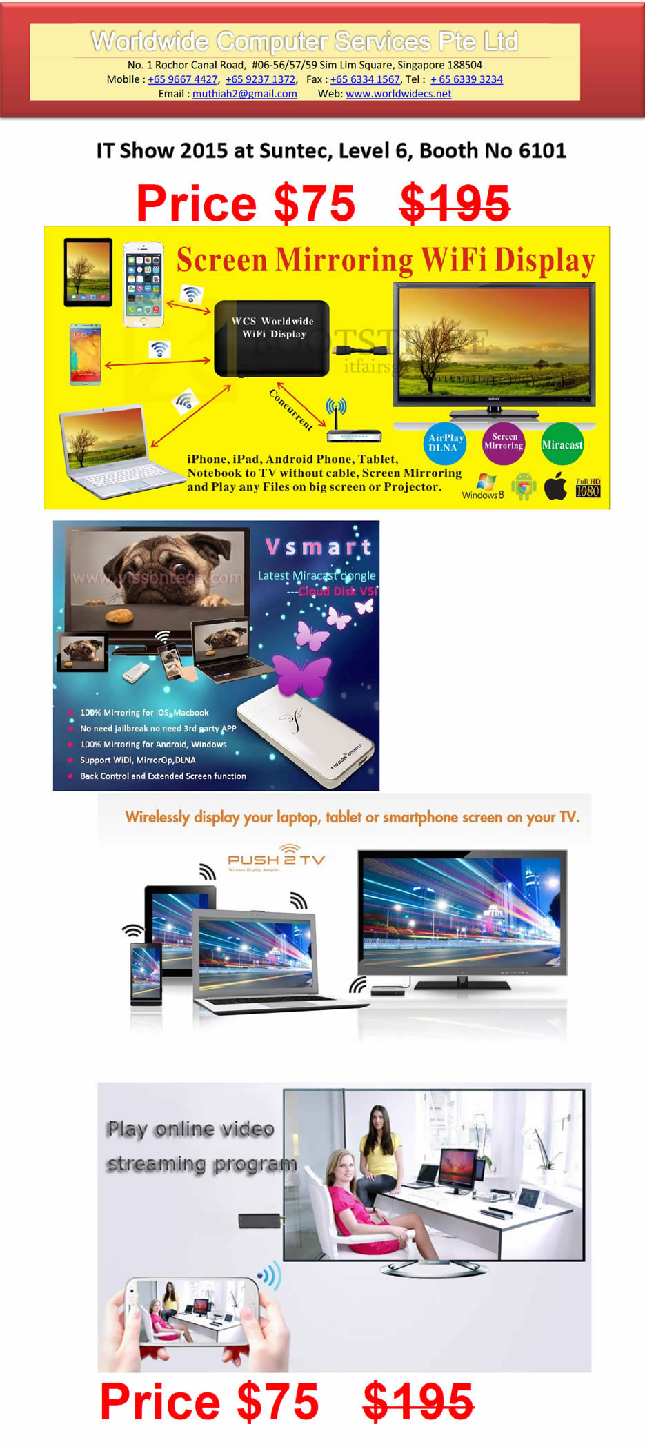 IT SHOW 2015 price list image brochure of Worldwide Computer Services Screen Mirroring Wifi Display