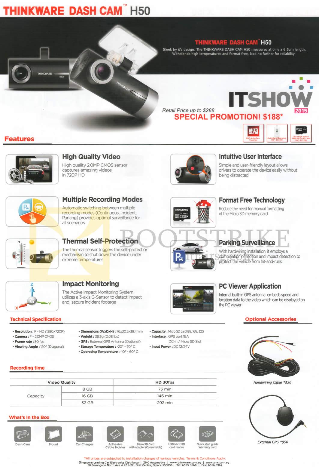 ZMC Automotive Thinkware Dash Cam H50 IT SHOW 2015 Price List