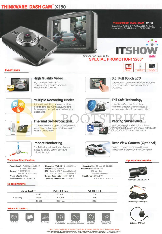 IT SHOW 2015 price list image brochure of ZMC Automotive Thinkware Dash Cam X150