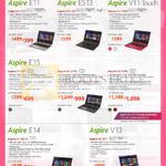 Notebooks Aspire E11 ES13 V11 Touch E15 E14 V13 E3-112, ES1-311, V3-112P, E5-571, 571G, 471G, V3-371