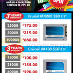 Crucial SSD MX200, BX100, 120GB, 250GB, 500GB, 1TB