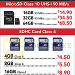 Kingston Memory Cards MicroSD, SDHC 4GB, 8GB, 16GB, 32GB, 64GB