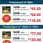 Lexar CmpactFlash Cards Professional CF800X, CF1066X, 1000X, 16GB, 32GB, 64GB