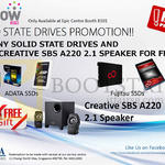 EpiCentre Adata, Fujitsu SSD, Free Creative SBS A220 Speakers