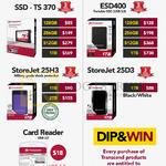 Transcend SSD, StoreJet 25H3, ESD400, Card Reader