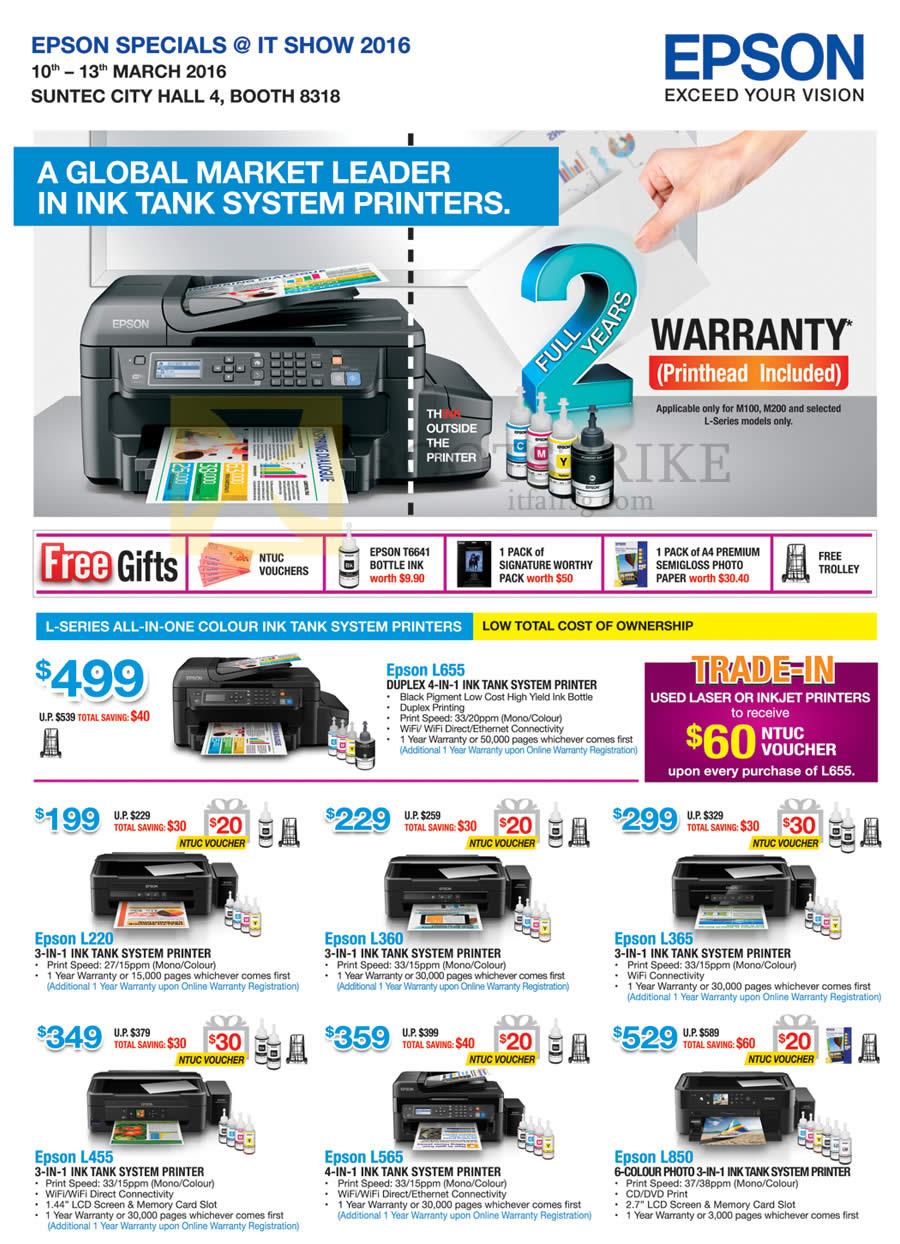 Epson Printers L655 L220 L360 L365 L455 L565 L850 It