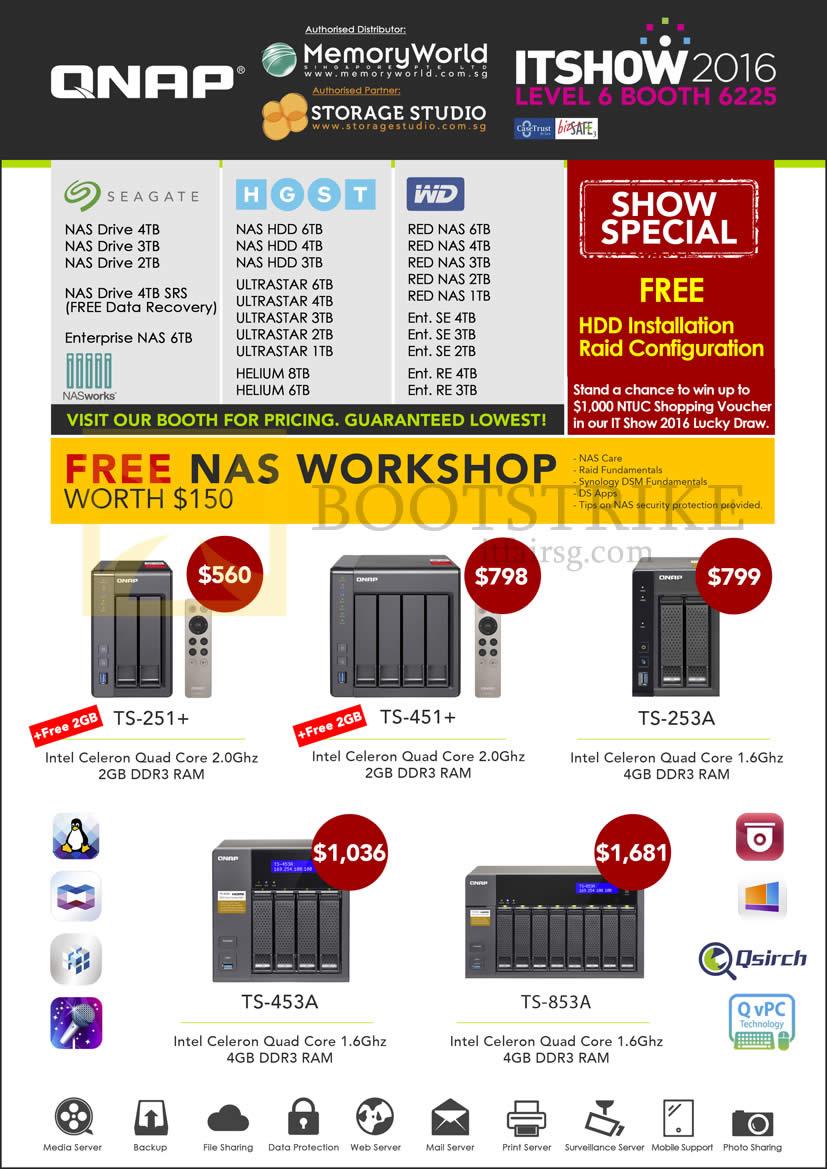 Memory World Qnap NAS TS-251, TS-451, TS-253A, TS-453A, TS