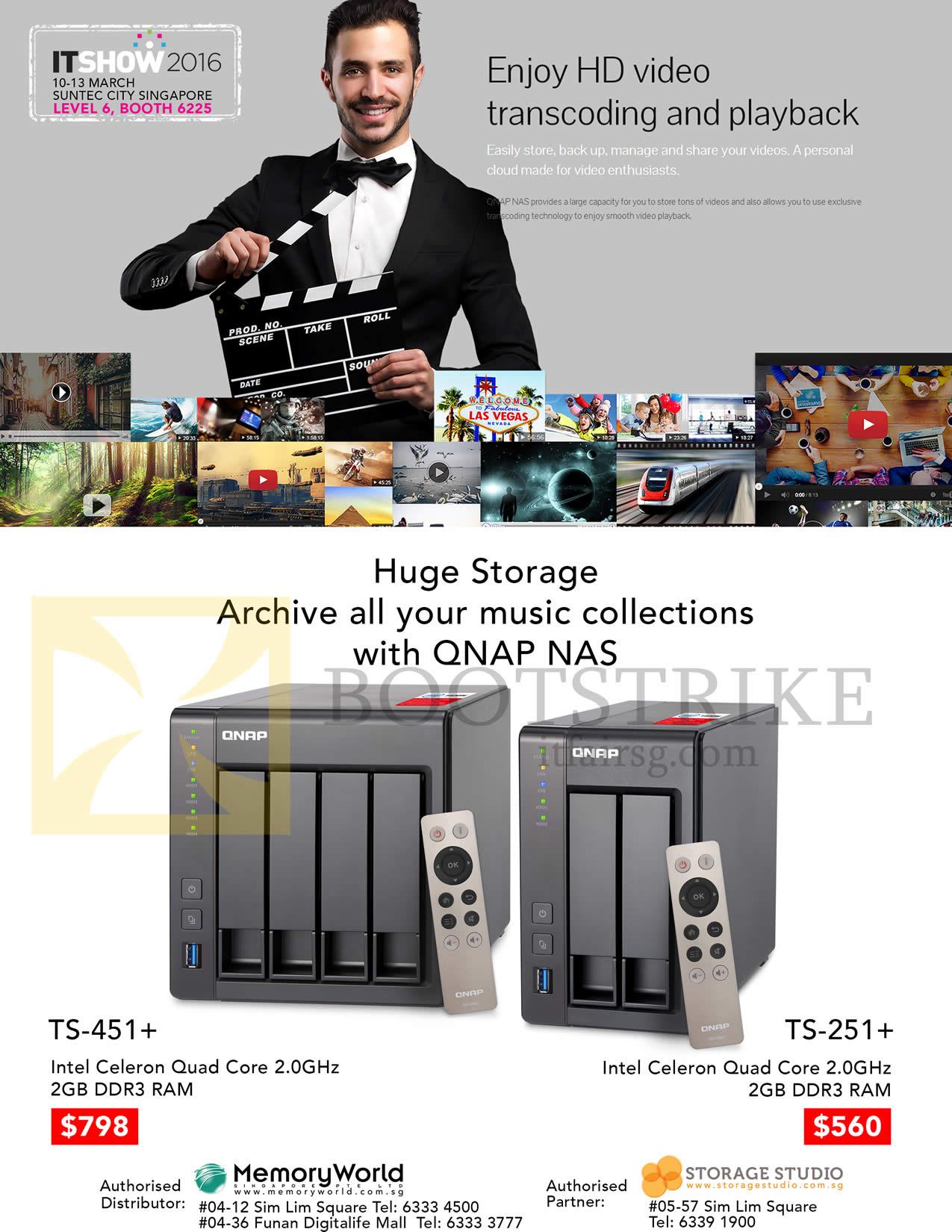 Memory World Qnap Storage TS-451 Plus, 251 Plus IT SHOW 2016