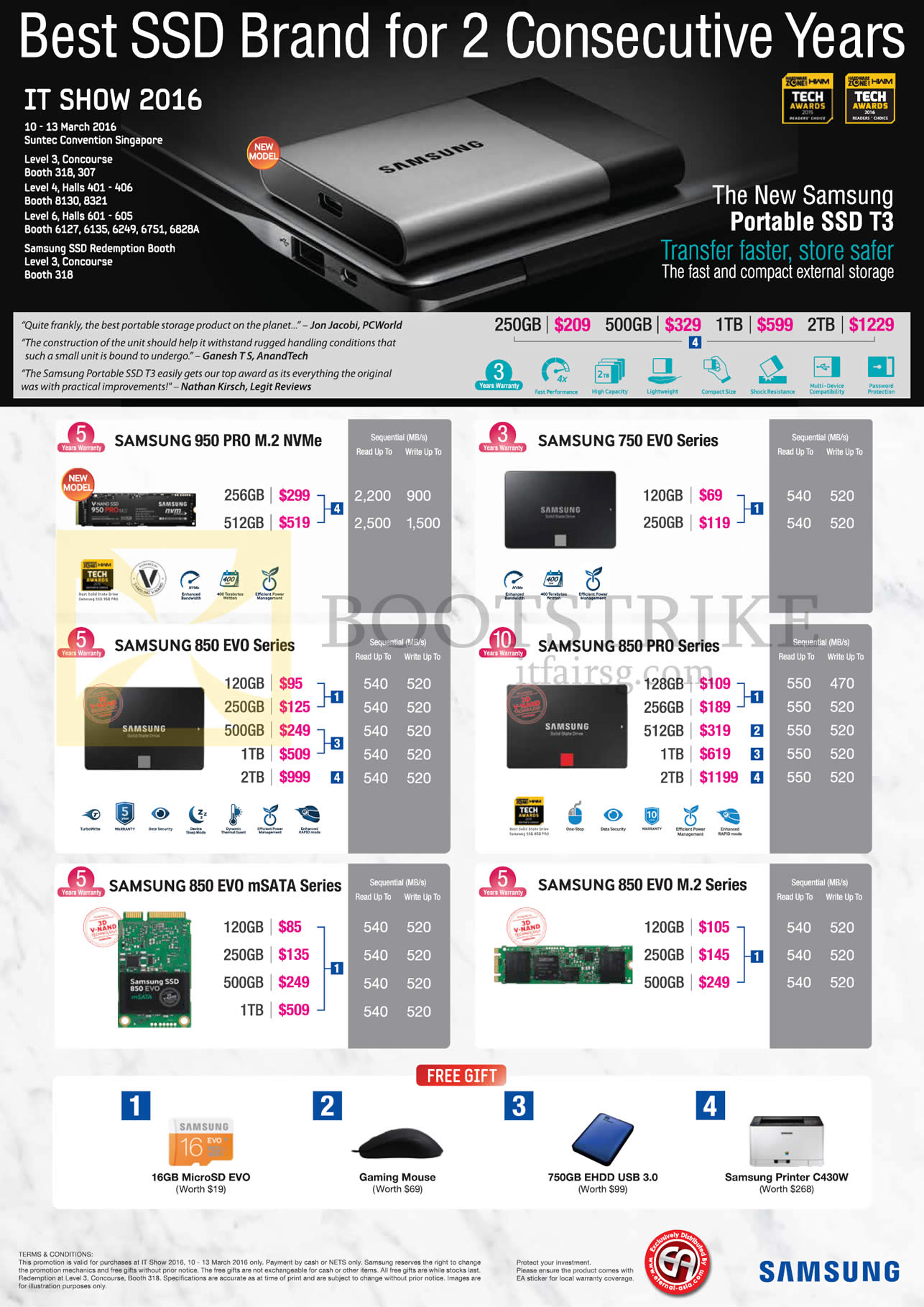 IT SHOW 2016 price list image brochure of Samsung SSDs 950 Pro M.2 NVMe. «