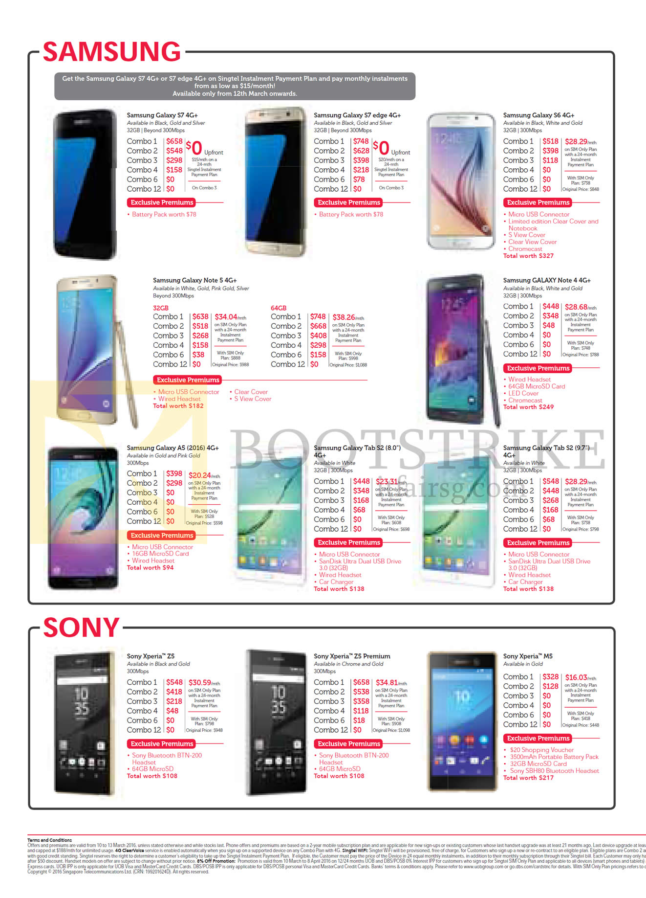 Singtel Mobile Phones Samsung, Sony, Galaxy S7, S7 Edge, S6, Note 5