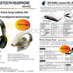 Alpha Digital Bluetooth Headphone AD-H3C, 500 ANSI Luments HD LED Projector AD-FP-362A, AD-EL-384A