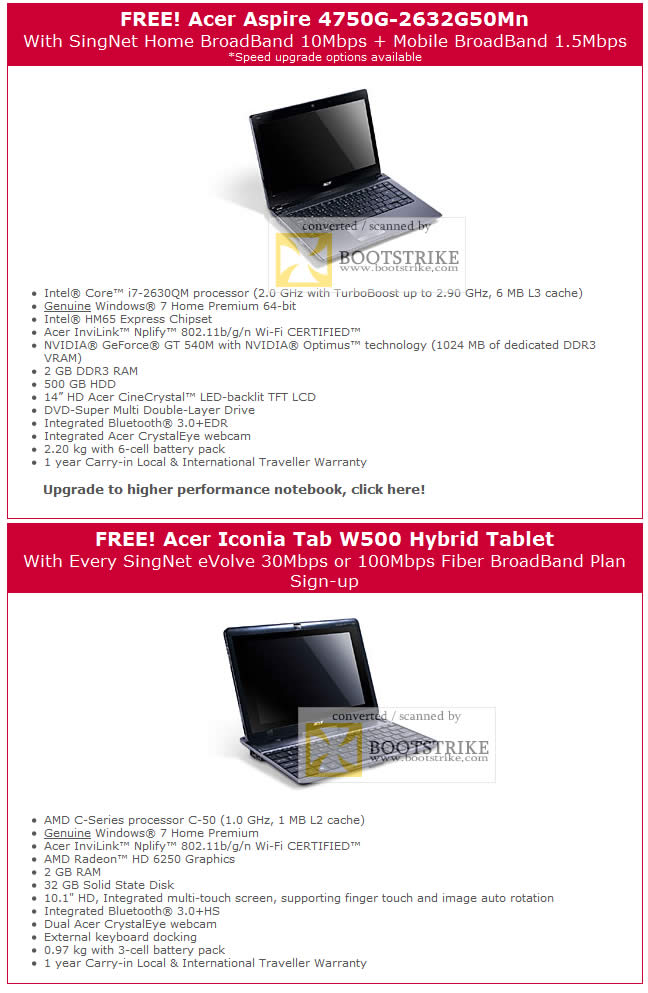 acer iconia tab w500 hybrid tablet evolve singtel it show 2011 acer aspire 4750g 2632g50mn