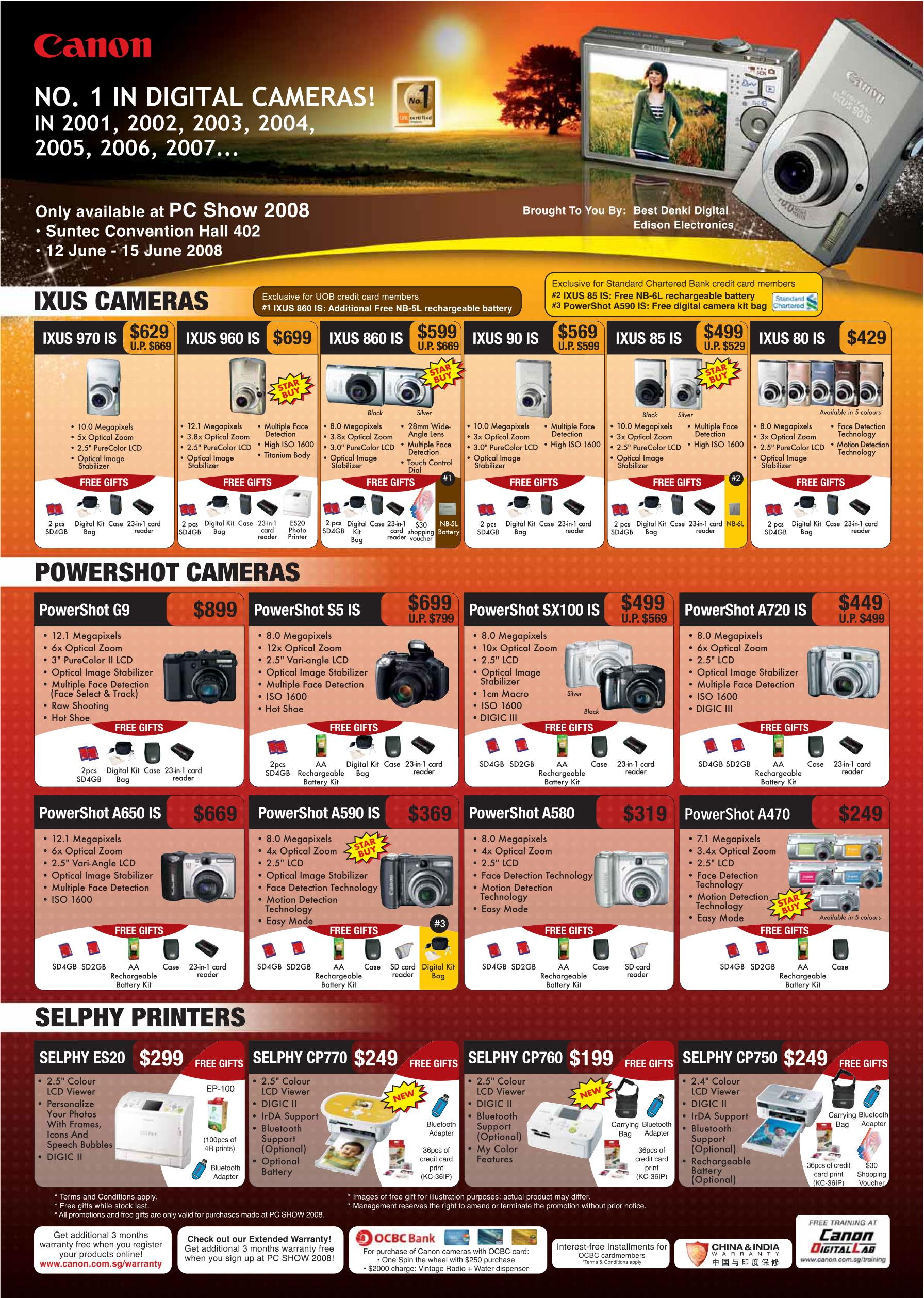 PC Show 2008 price list image brochure of Canon Digital Cameras Ixus Powershot Selphy Printers