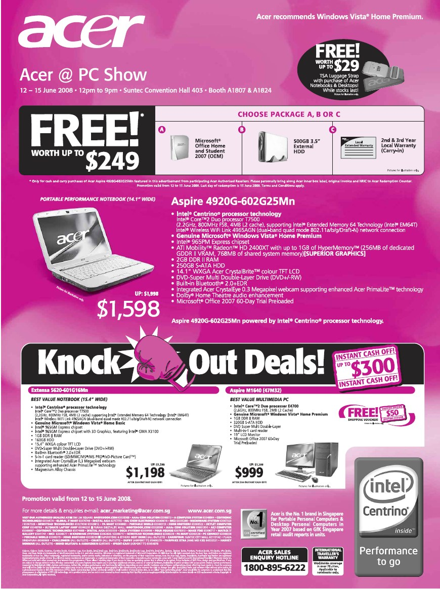 PC Show 2008 price list image brochure of Acer Laptops