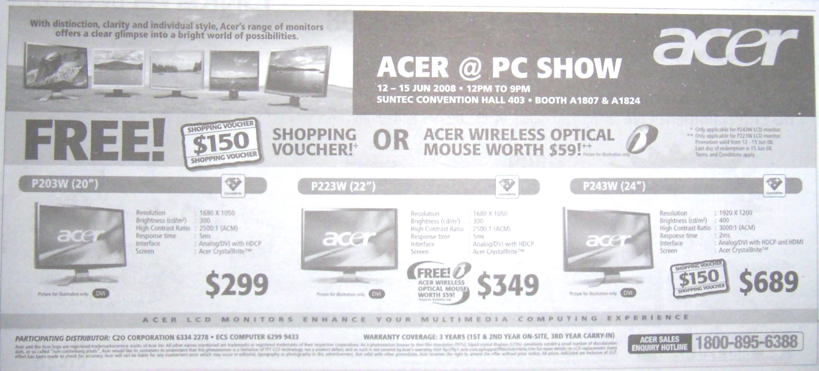 PC Show 2008 price list image brochure of Acer Monitors