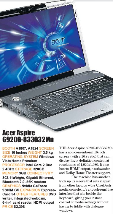 PC Show 2008 price list image brochure of Acer Aspire 6920g-833g32mn