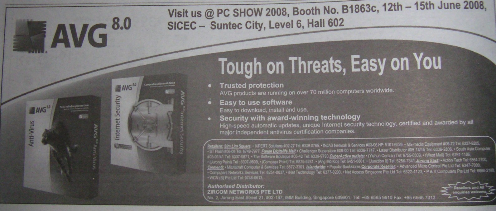 PC Show 2008 price list image brochure of Avg Antivirus