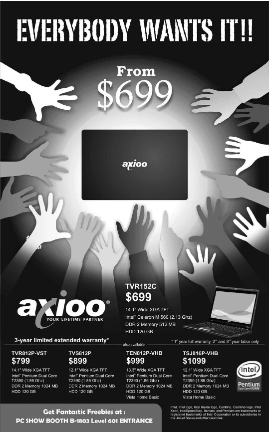 PC Show 2008 price list image brochure of Axioo Notebooks