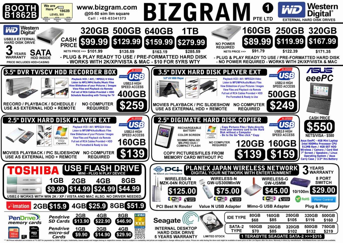 PC Show 2008 price list image brochure of Bizgram Hard Disks