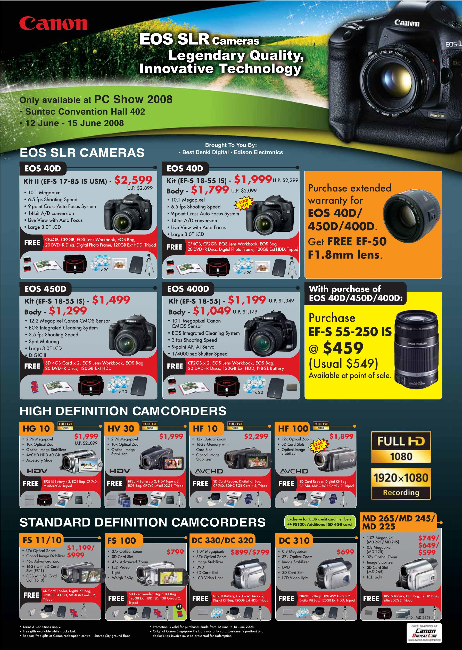 PC Show 2008 price list image brochure of Canon Dslr Cameras Camcorders