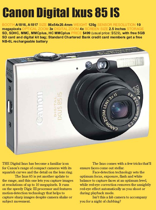PC Show 2008 price list image brochure of Canon Digital Ixus 85 Is