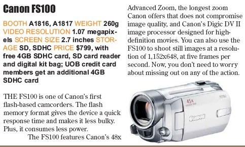 PC Show 2008 price list image brochure of Canon Fs100