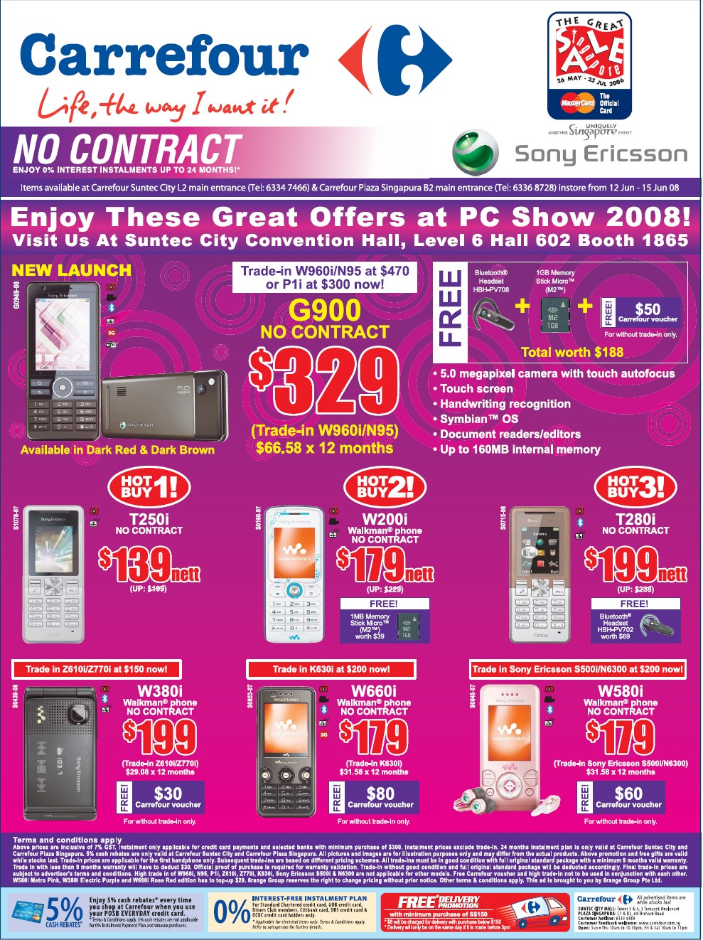 PC Show 2008 price list image brochure of Carrefour Phones