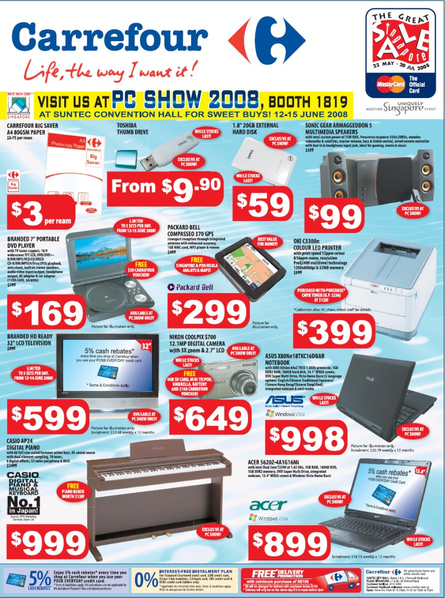 PC Show 2008 price list image brochure of Carrefour