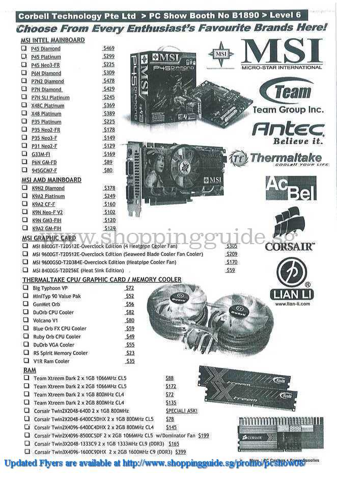 PC Show 2008 price list image brochure of Corbell Msi Antec Thermaltake ShoppingGuide.SG-PcShow08-050