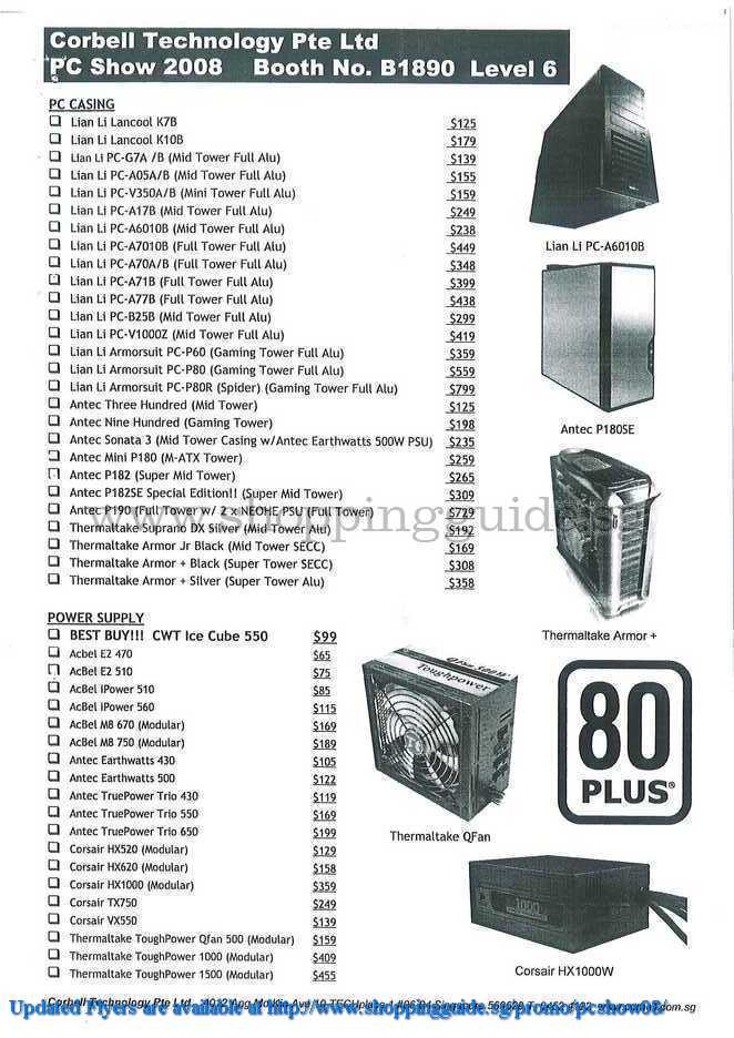 PC Show 2008 price list image brochure of Corbell Msi Antec Thermaltake ShoppingGuide.SG-PcShow08-051