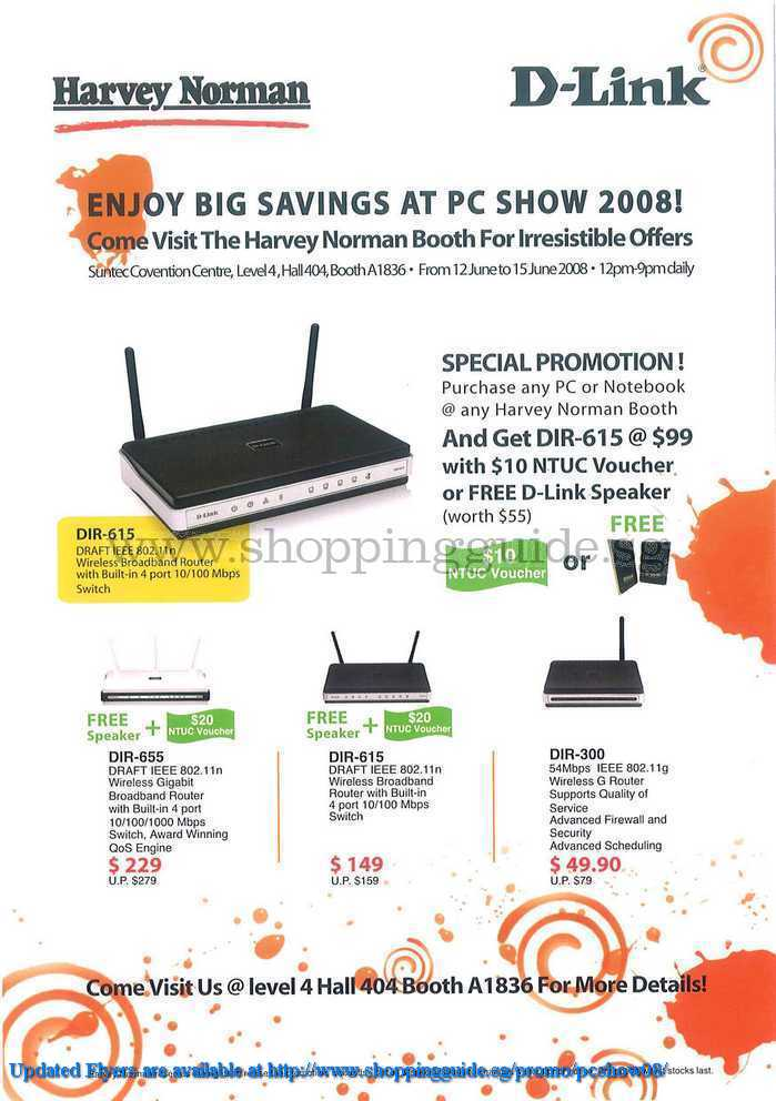 PC Show 2008 price list image brochure of D-link Harvey Norman ShoppingGuide.SG-PcShow08-028