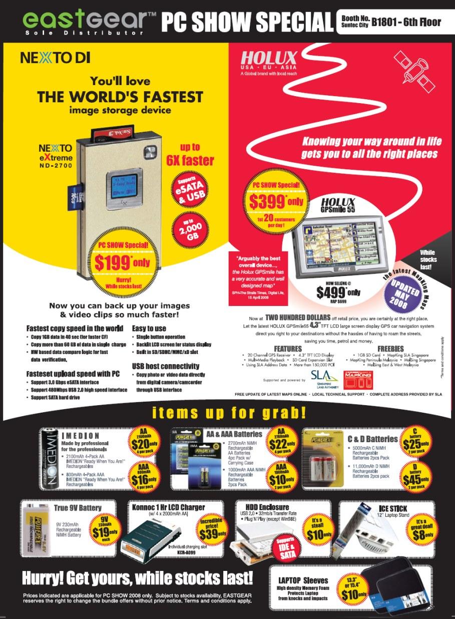 PC Show 2008 price list image brochure of Eastgear Nexto Di Image Storage Holux Gps2