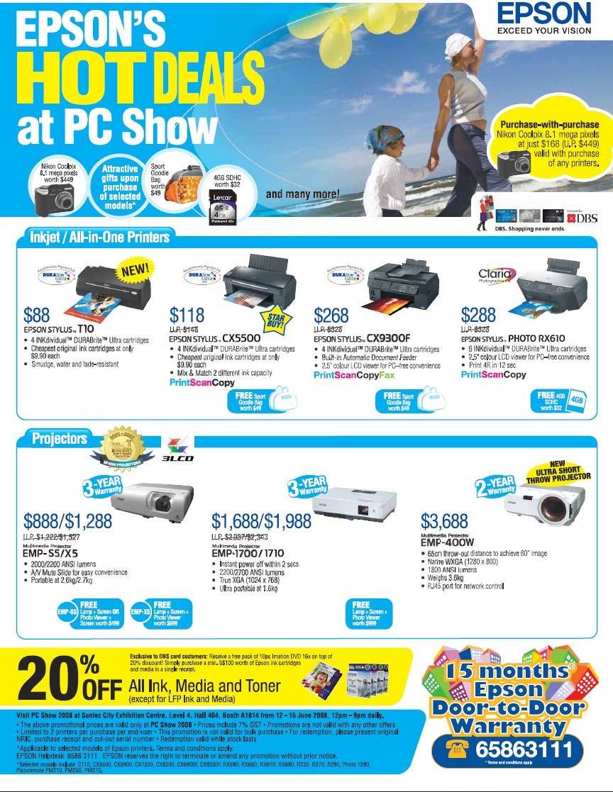 PC Show 2008 price list image brochure of Epson Printers Projectors 1