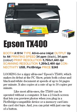 PC Show 2008 price list image brochure of Epson Tx400