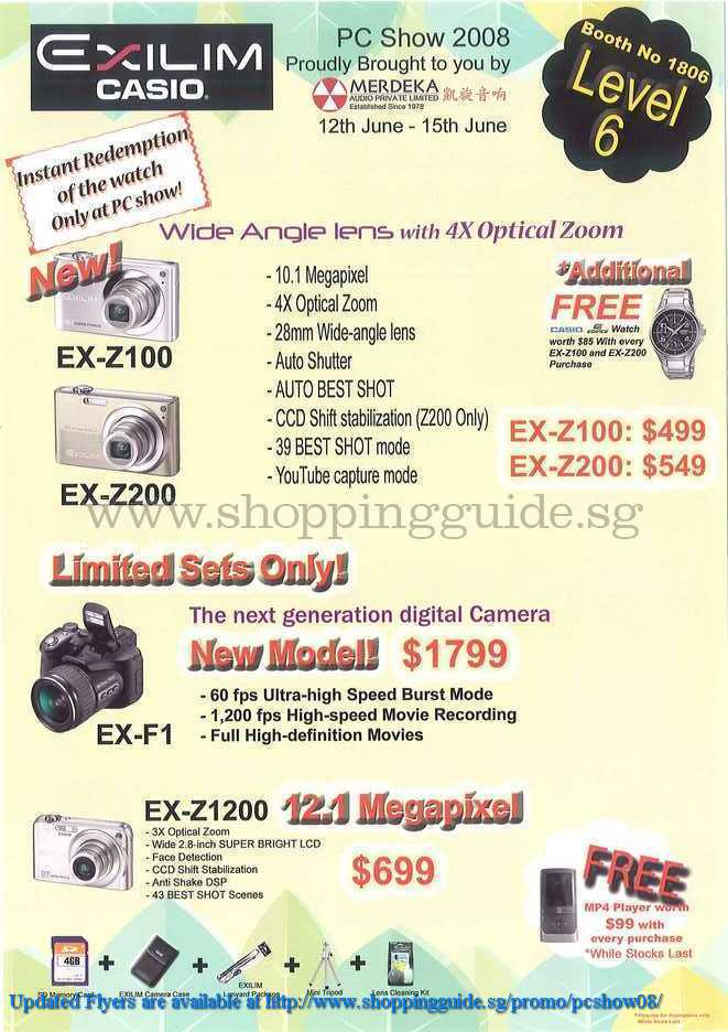PC Show 2008 price list image brochure of Exilim CasioShoppingGuide.SG-PcShow08-129